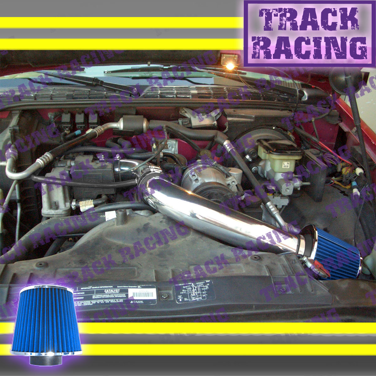 BCP BLACK 97-03 S-10//Sonoma//Hombre 2.2L Cold Air Intake Racing System Filter