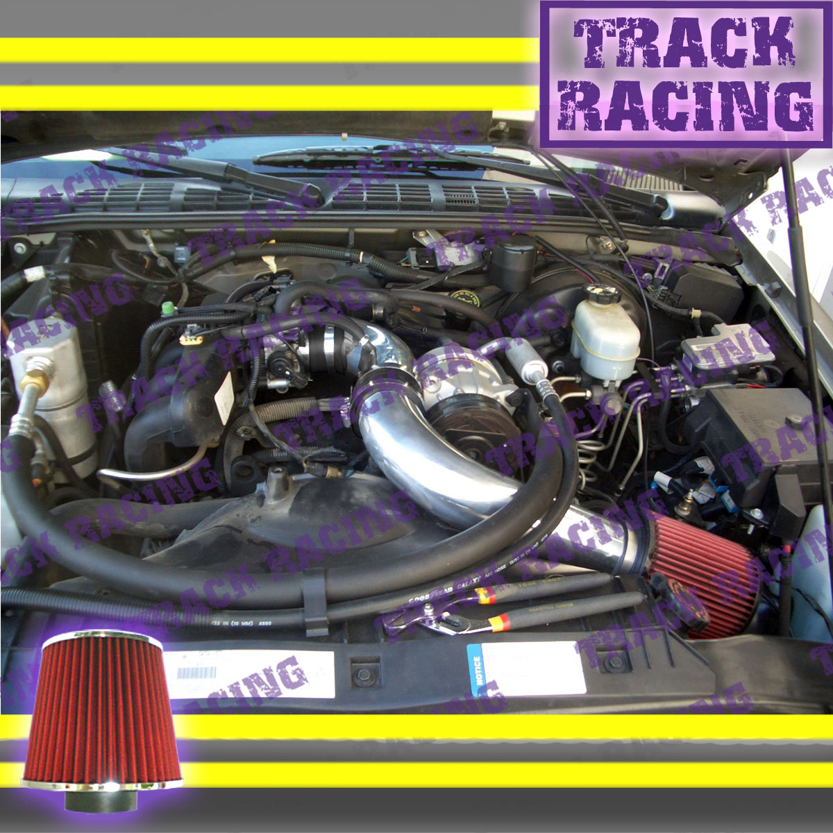"""BLACK BLUE 1994-1997 CHEVY S10//XTREME//HOMBRE//SONOMA 2.2L FULL COLD AIR INTAKE 3/"""""""