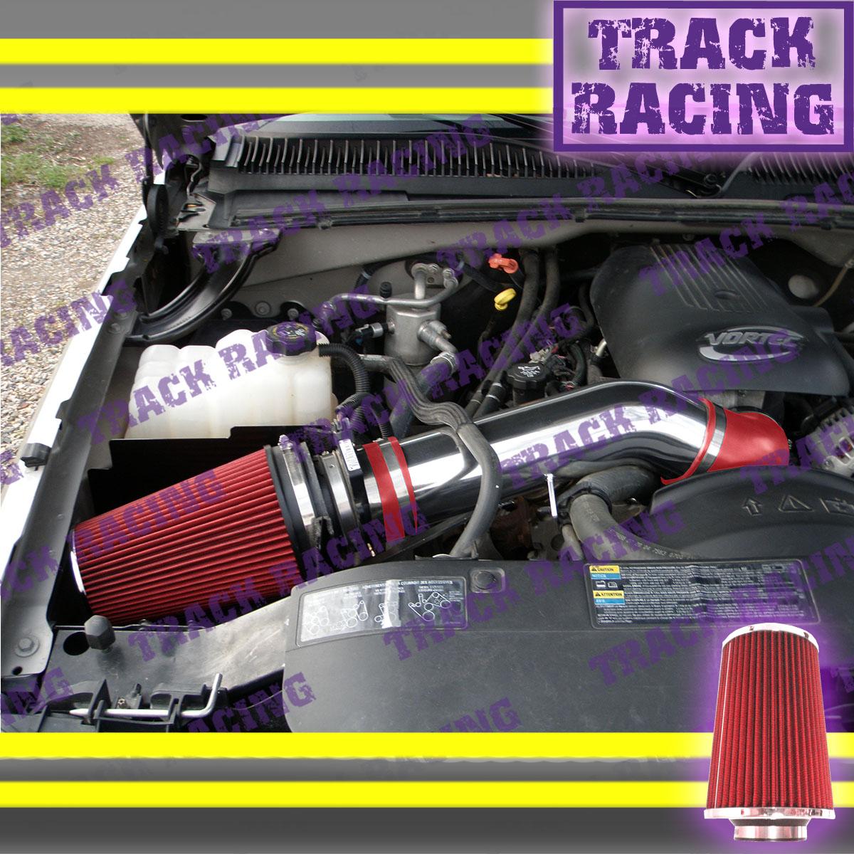 BLACK RED 99-07 CHEVY//GMC//CADILLAC TRUCKS 4.8//5.3//6.0//8.1 BLK COLD AIR INTAKE